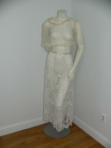 Antique Edwardian  2 PC Tambour  Embroidered Net L