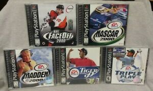 5-Sport-Games-Lot-Playstation-1-2-PS1-PS2-Madden-NFL-NHL-Tiger-Golf-NBA-MLB