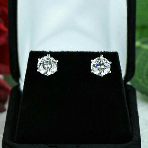 Round-Cut-1-00-Ct-Solitaire-Genuine-Diamond-Stud-Earrings-18K-White-Gold-Studs