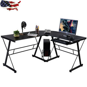 Image Is Loading L Shape Black Computer Desk Wooden PC Table