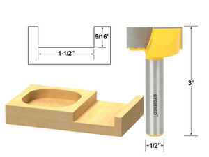 """1-1/2"""" Diameter Bottom Cleaning Router Bit - 1/2"""" Shank - Yonico 14976"""