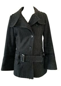 Mexx-Grey-Wool-Blend-Button-Up-Tweed-Coat-Herringbone-Military-Jacket-Size-10