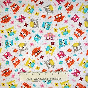 Nursery Baby Fabric Colorful Tossed Owls On White 3