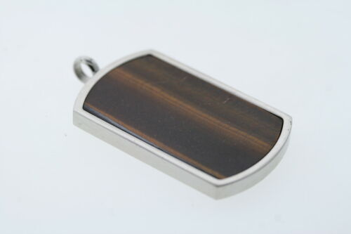 Cat/'s Eye Dog Tag Pendant in Stainless Steel
