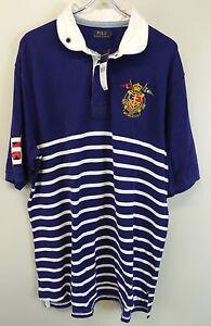 A imagem está carregando Polo-Ralph-Lauren-Listrada -Manga-Curta-Camisa-Rugby- 7fe584b73a3bb