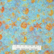 Island Batik Fabric - Nautical Seashell Sand Dollar Blue Orange - Cotton YARD