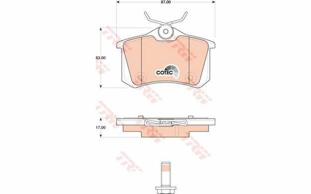 4x TRW Plaquettes de frein Arrière pour PEUGEOT 207 CITROEN C3 DS3 GDB1813