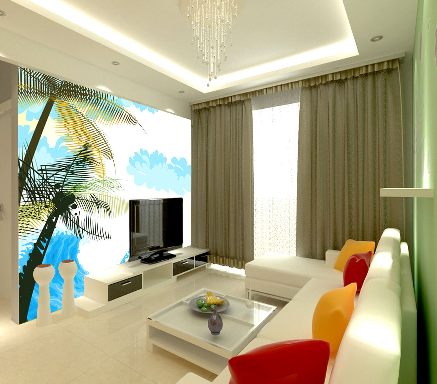 3D Simple sea palm 5 WallPaper Murals Wall Print Decal Wall Deco AJ WALLPAPER