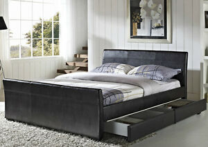 Image Is Loading  Drawers Faux Leather Storage Sleigh Bed Double