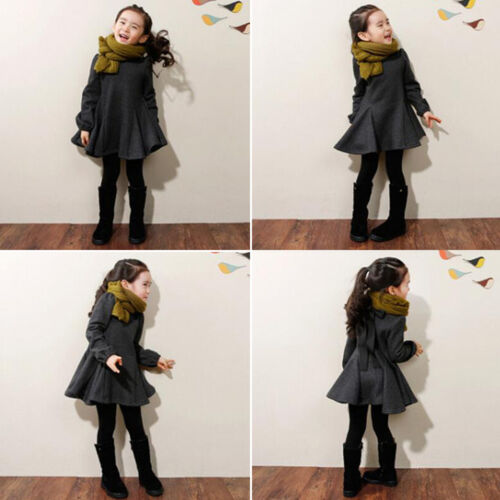 Kids Girls Long Sleeve Princess Dress Tunika Tops Winter Casual Clothes Outfits