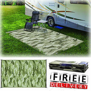 Camping Reversible Mat 9x12 Area Rug Outdoor Trailer Patio Rv