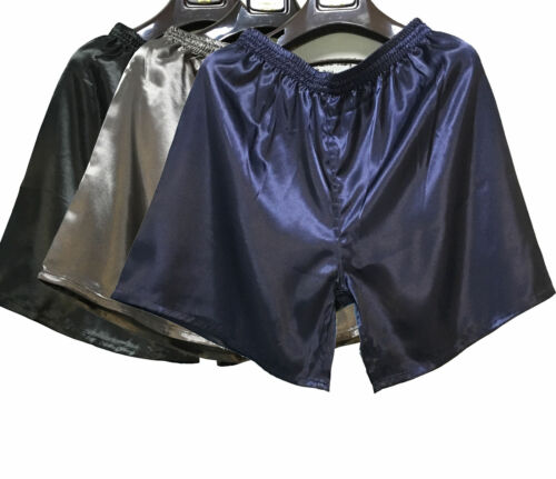 5XL Pyjama Herren Satin Silk Unterwäsche Nachtwäsche Boxershorts Unterhosen L