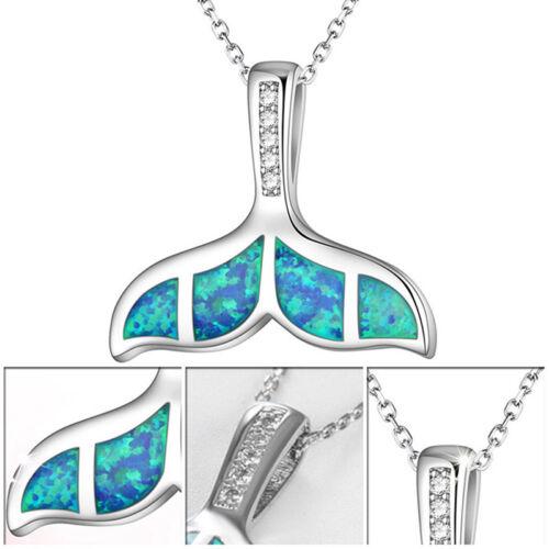 Ocean Blue Mermaid Tail Opal Crystal Pendant Necklace Jewelry Women Jewelry CB