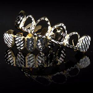 14K Gold & Silver Plated DIAMOND CUT Hollow Top and Bottom Teeth Hip Hop GRILLZ