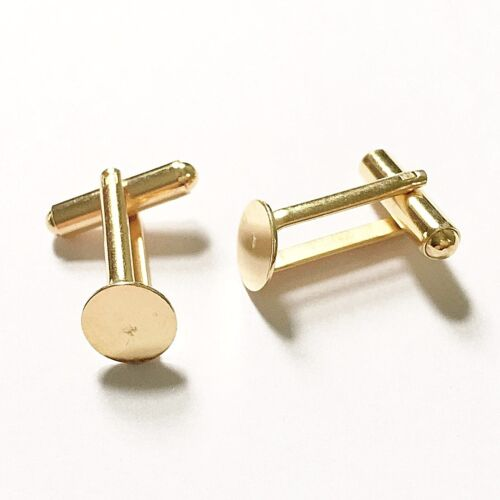 10 x 22K Gold Plated Cufflink Blanks Round Flat Pad 9mm 13mm 15mm Findings