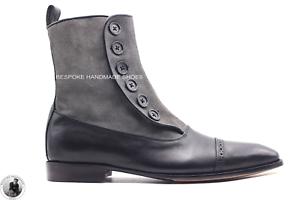 Stivali a punta da uomo in pelle scamosciata grigia e pelle nera fatti a mano