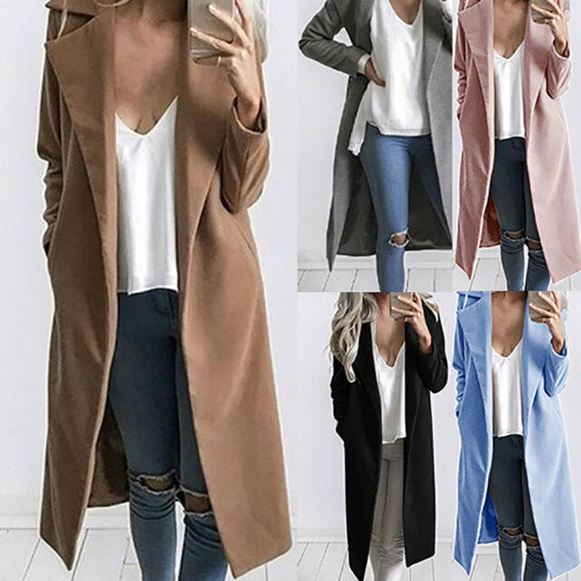 KF_ Lady Solid Color Wool Lapel Long Jacket Trench Coat Outwear Warm Overcoat