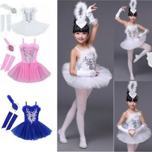 828c0516803c Girls Toddler Ballerina Costume Skirt Ballet Dance Wear Leotard Swan ...