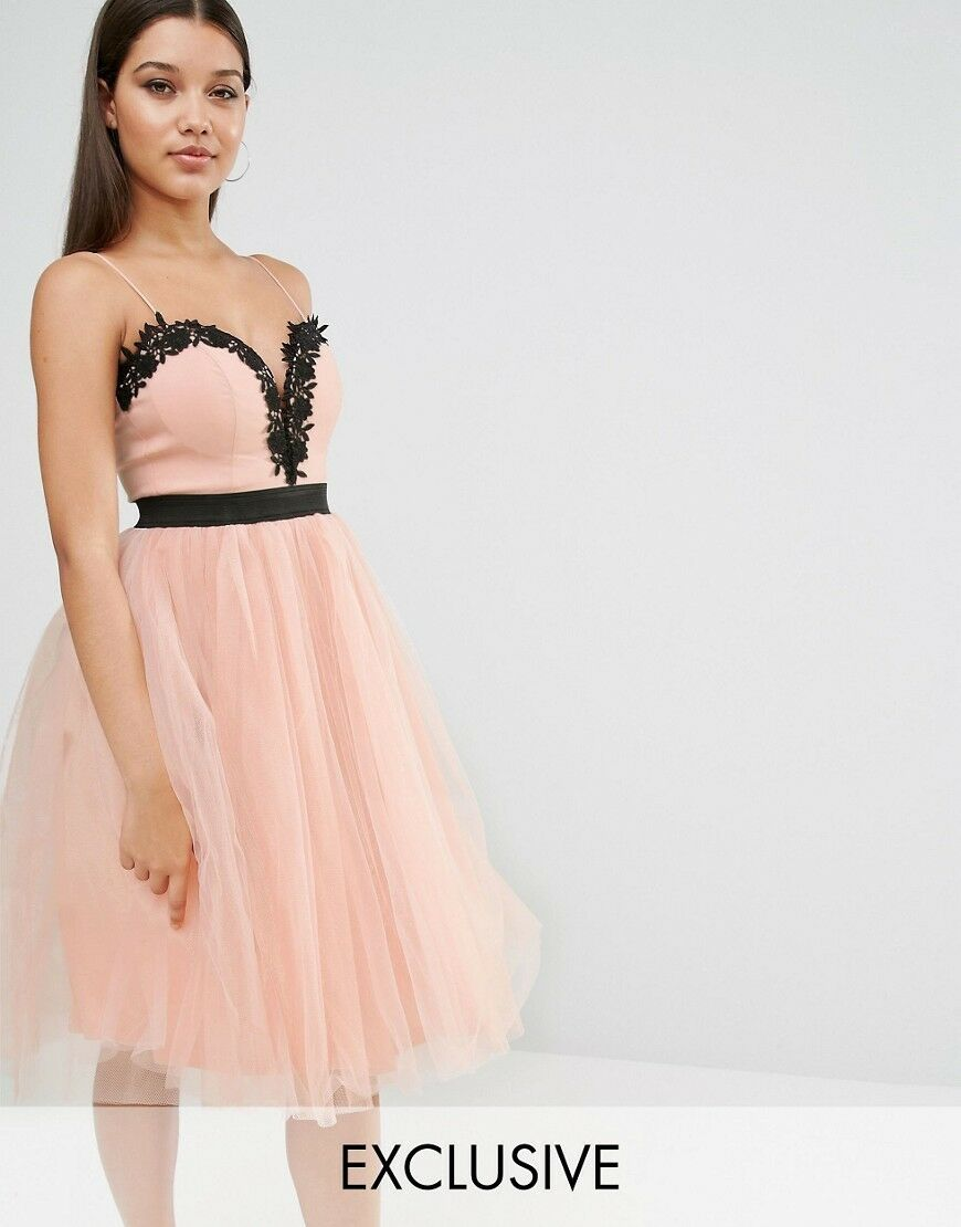 NEW RARE LONDON TUTU TULLE NUDE STRAPPY PARTY PROM DRESS WEDDING LOOK CUTE
