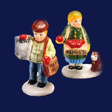 Dept 56 Snow Village ~ Girl Selling Apples & News Boy ~ Mint In Box 51292