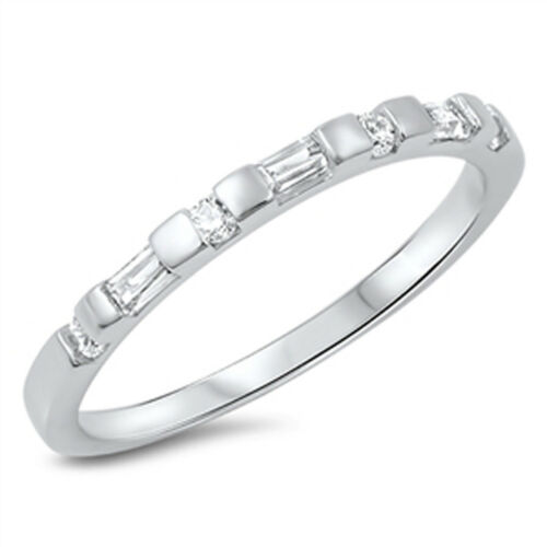 Wedding Band Stackable White CZ Beautiful Ring .925 Sterling Silver Sizes 5-10