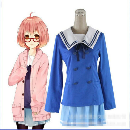 Kyokai No Kanata Kuriyama Mirai Boundary Uniform Cosplay Costume Dress