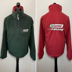 Castrol Racing Motor Sport Reversible Men's Fleece Jacket Green & Red M RARE