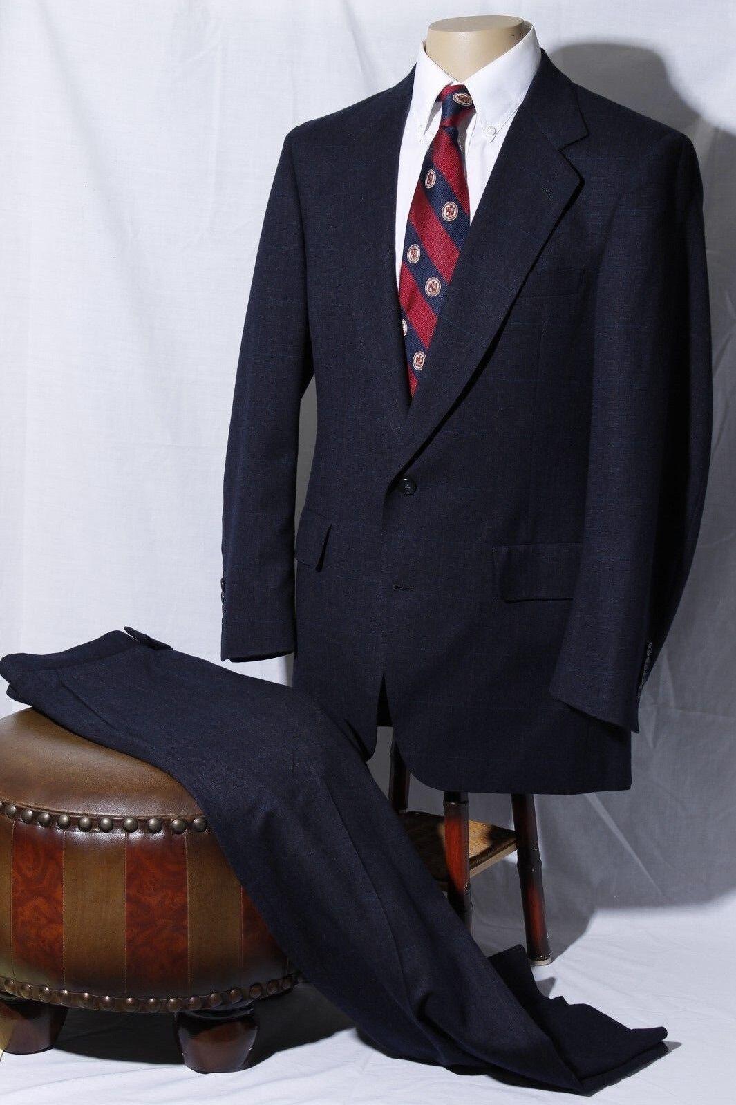 Hart Schaffner Marx HSM Navy Windowpane Suit Men's 39S W34xL25