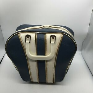 Vintage Retro Blue White Stripe Ranger Tag Bowling Bag