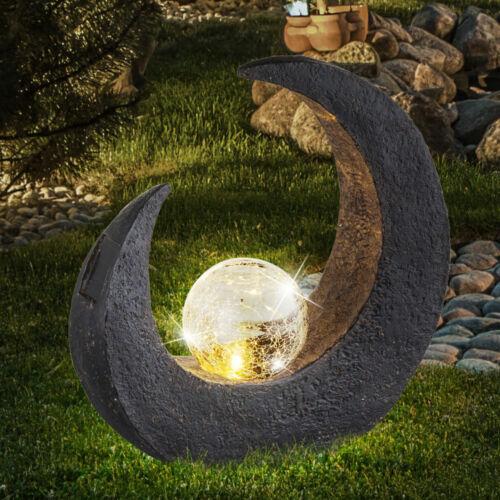 LED Solar Steh Außen Leuchte Veranda Beleuchtung Glas Kugel Mond Lampe schwarz