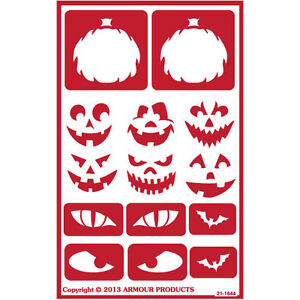 Scary Face Pumpkin Total 4 Items Includes Brush Bat Etch Stencil Set with Halloween Armour Etch Over N Over Reusable Glass Etching Stencils Bones Alphabet Theme Grave Yard Skull