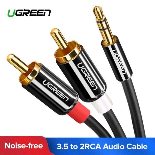 Ugreen Câble Audio Stéréo Jack 3.5mm Mâle vers 2 RCA avec Connecteur en Métal