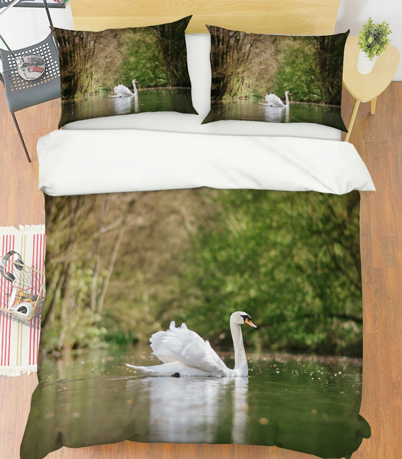 3D Swan Lake S109 Animal Bed Pillowcases Quilt Duvet Cover Set Queen King Sunday