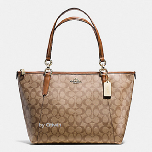 New-Authentic-COACH-F58318-AVA-Signature-Tote-Handbag-Purse-Shoulder-Bag-Khaki