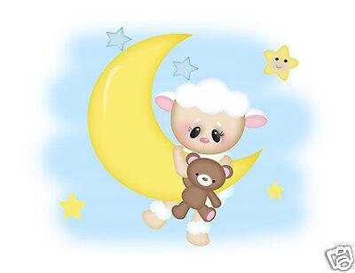 Sheep Lamb Wall Mural Art Decals Star Moon Farm Animals Teddy Bear Nursery Decor