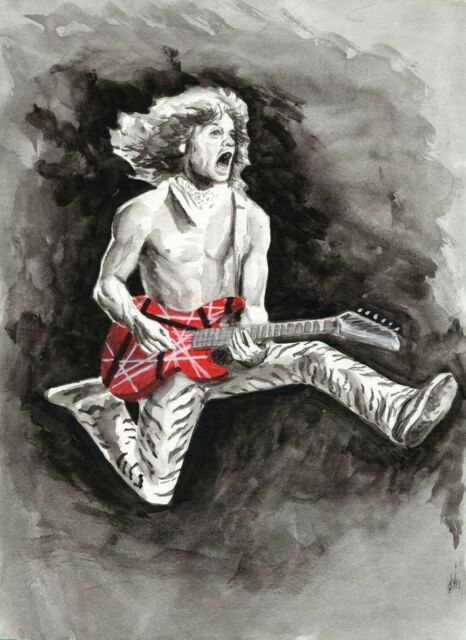 Movie Art to Support Swan Dive - Eddie Van Halen - watercolour 9x12