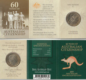 Australia-2009-60-Years-of-Australian-Citizenship-One-Dollar-Coin-039-C-039-Mintmark