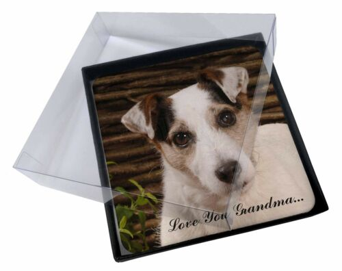 4x Jack Russell 'Love You Grandma' Picture Table Coasters Set in Gi, ADJR56lygC