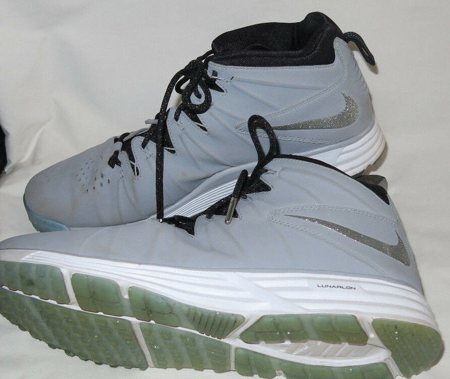 Nike Lunarlon Huarache Men's 12.5 Lacross Promo RARE Grey Glitter High Tops