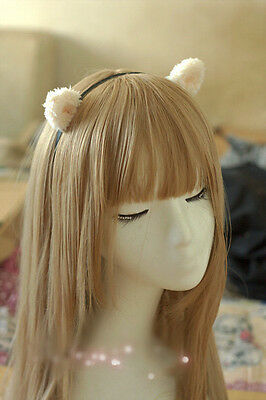 Handmade Lolita Cat Ears Cosplay Maid Cat Kitty Fuzzy Ears Woman Girls Headband