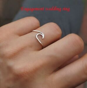 Fashion-925-Silver-Ocean-Wave-Wedding-Engagement-Couple-Ring-Gift-Surfer-Jewelry