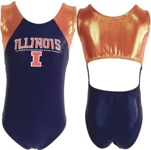 Details about  /NWT University of Illinois Navy Blue Orange College Open Back Gymnastics Leotard