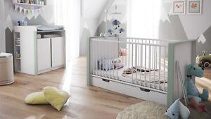 Détails sur Chambre bébé enfant Ensemble complèt Lit Table à langer Nandini  Set 2 en Blanc