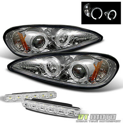 For 99-05 Pontiac Grand Am Halo Projector Headlights Lights+Smd Bumper Fog Light