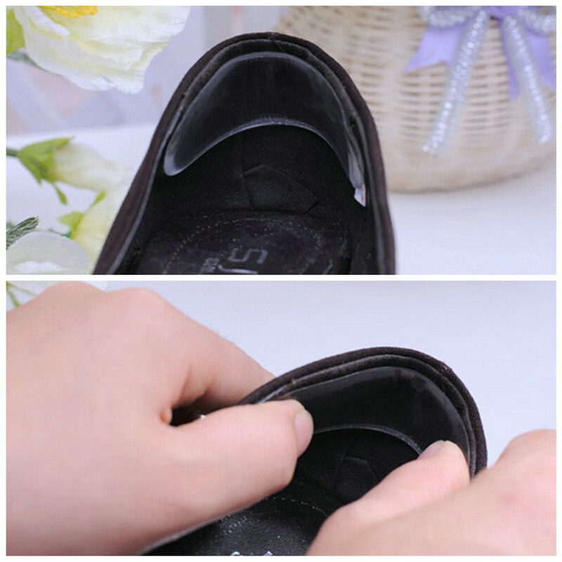 2 Pair Silicone Gel Heel Cushion protector Foot feet Care Shoe Insert Pad Insole