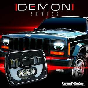 Image Is Loading Two Demon Led Headlights Replacement For Jeep Cherokee