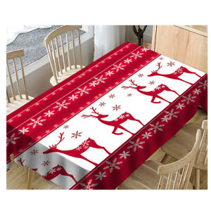 Christmas Tablecloth Rectangle Table Cloth Cover Xmas Dining Room Party Decor Ebay