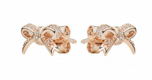 c465d97f4 PANDORA Sparkling Bow Stud Earrings Rose Gold and Clear CZ 280555CZ for  sale online | eBay