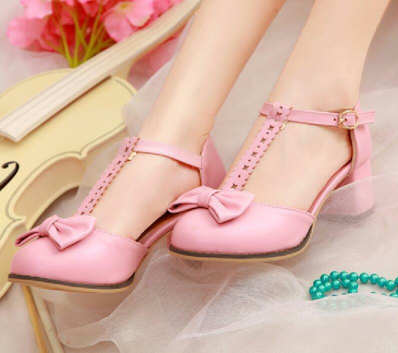 Cute Sweet Women Round Close Toe Pumps shoes Buckle Bowknot Cute shoes Szie 8