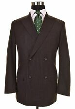 Jil Sander Tailor Made Gray Brown Flannel CHALK STRIPE Suit Jacket Pants 48 38